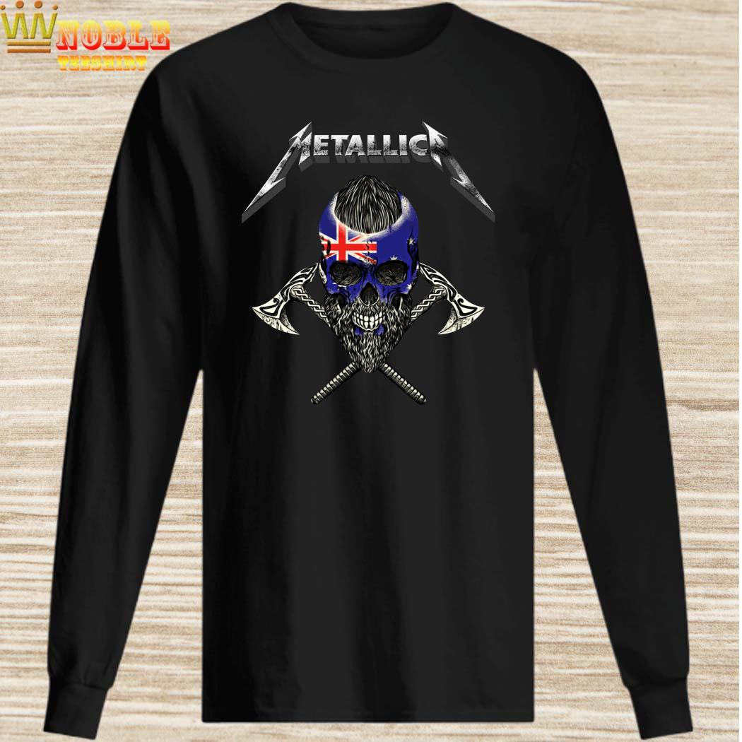 Metallica Viking Skull Australia Flag long sleeved