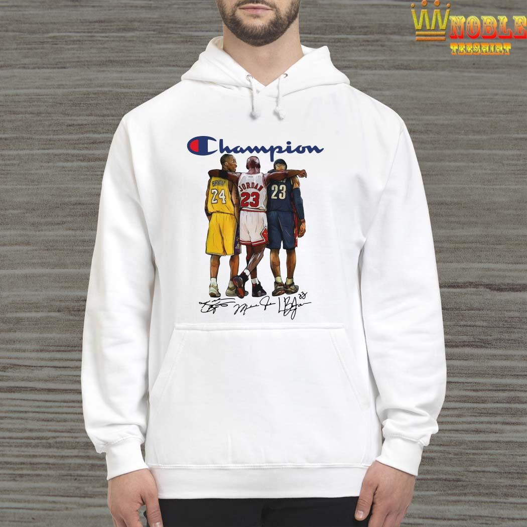 Kobe B-ry-ant Michael Jo-r-dan Le-Bron James Ch-am-pi-on Signatures Hoodie Thanks for All Beautiful Memories