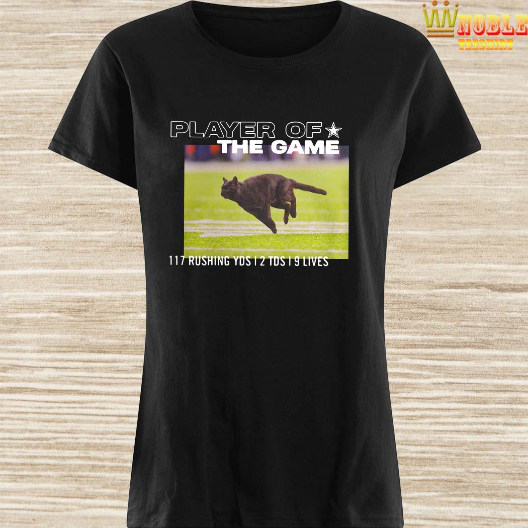 Dallas Cowboys Black Cat Player Of The Game 117 Rushing YSD 2 TDS 9 Lives Ladies Shirt