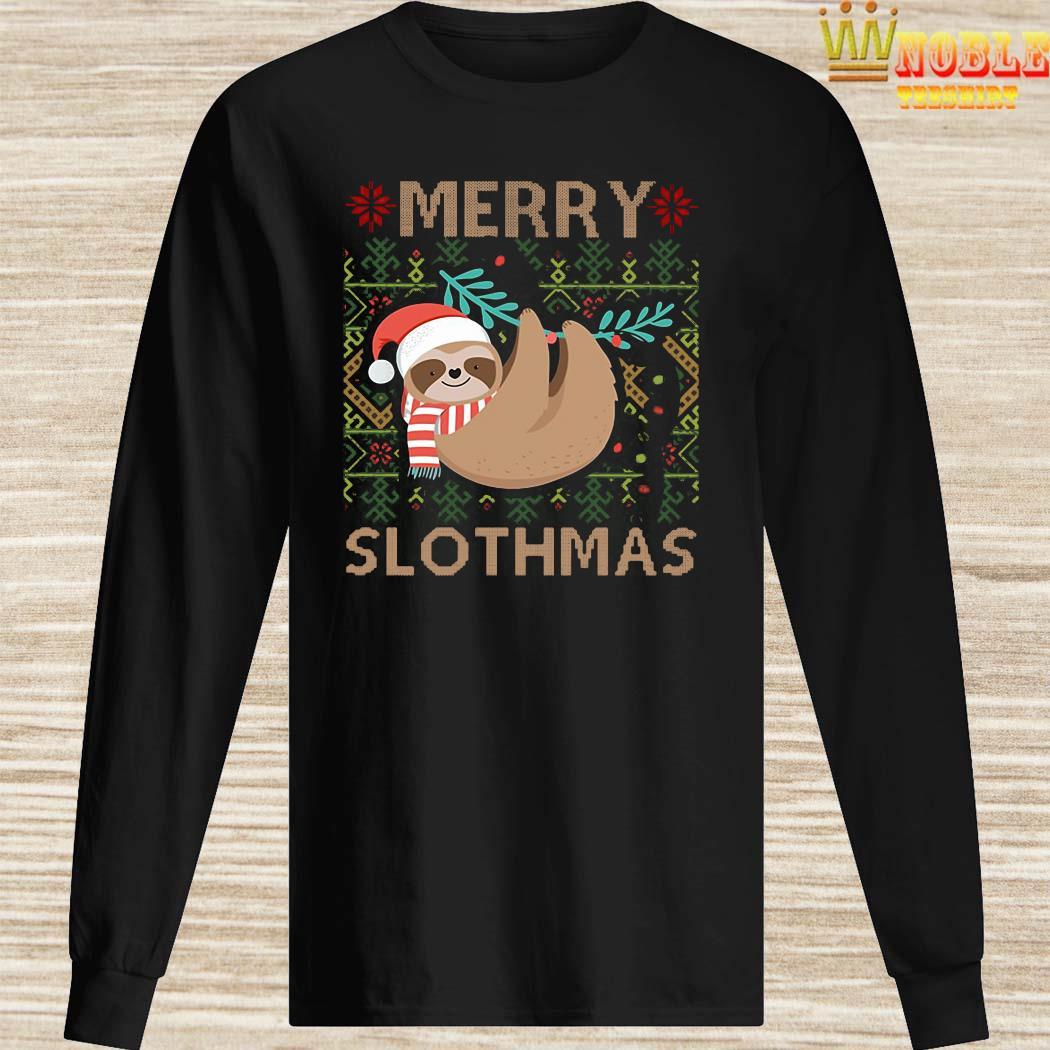 Santa Sloth Merry Slothmas Christmas Long Sleeved