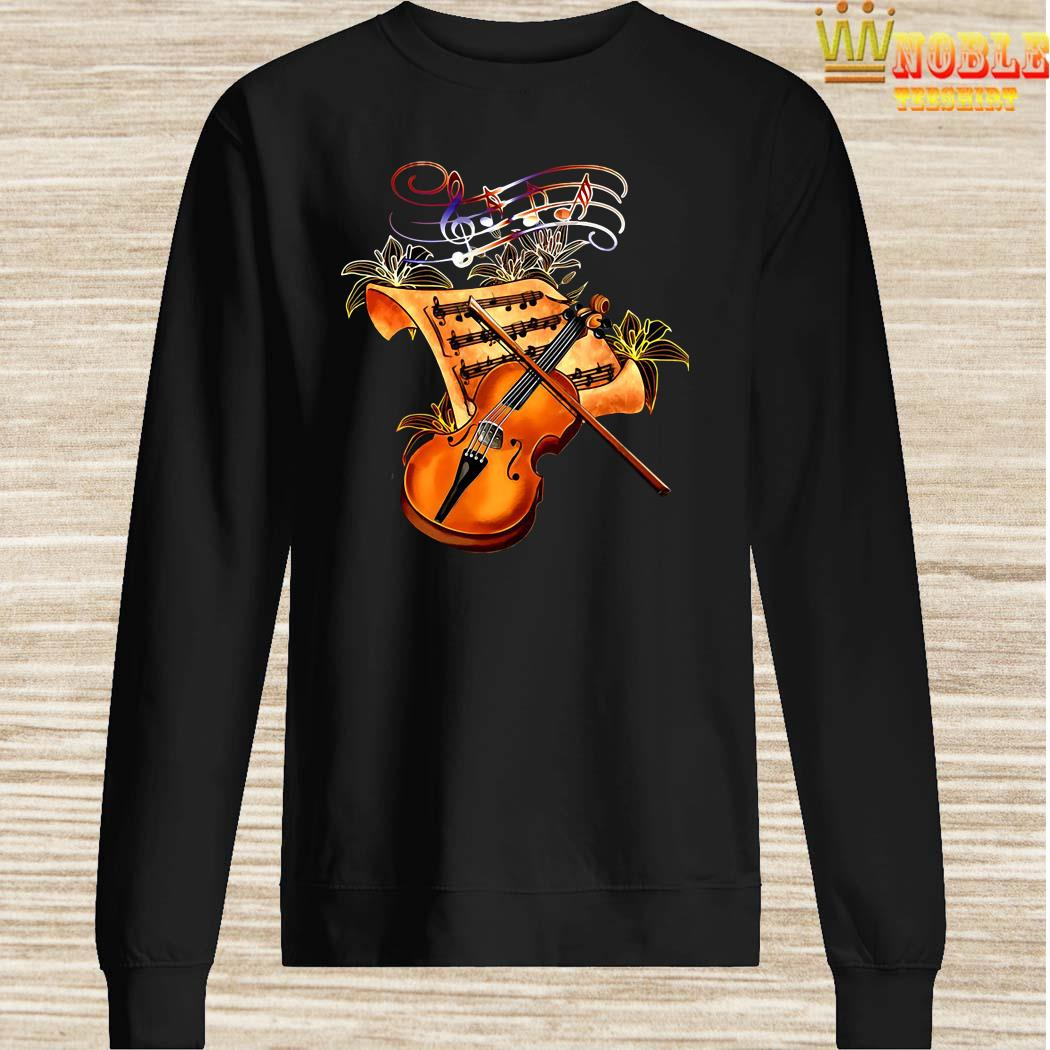 Violin Musically Gold Flower Sweater