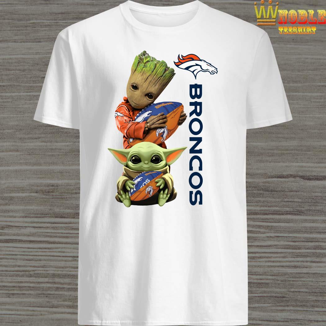 Baby Groot And Baby Yoda Hug Broncos Shirt Sweater Long