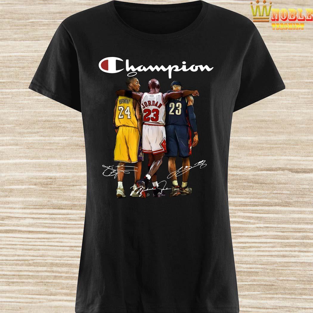 Rip Kobe Bryant Jordan And Lebron Champion Signatures Ladies Shirt