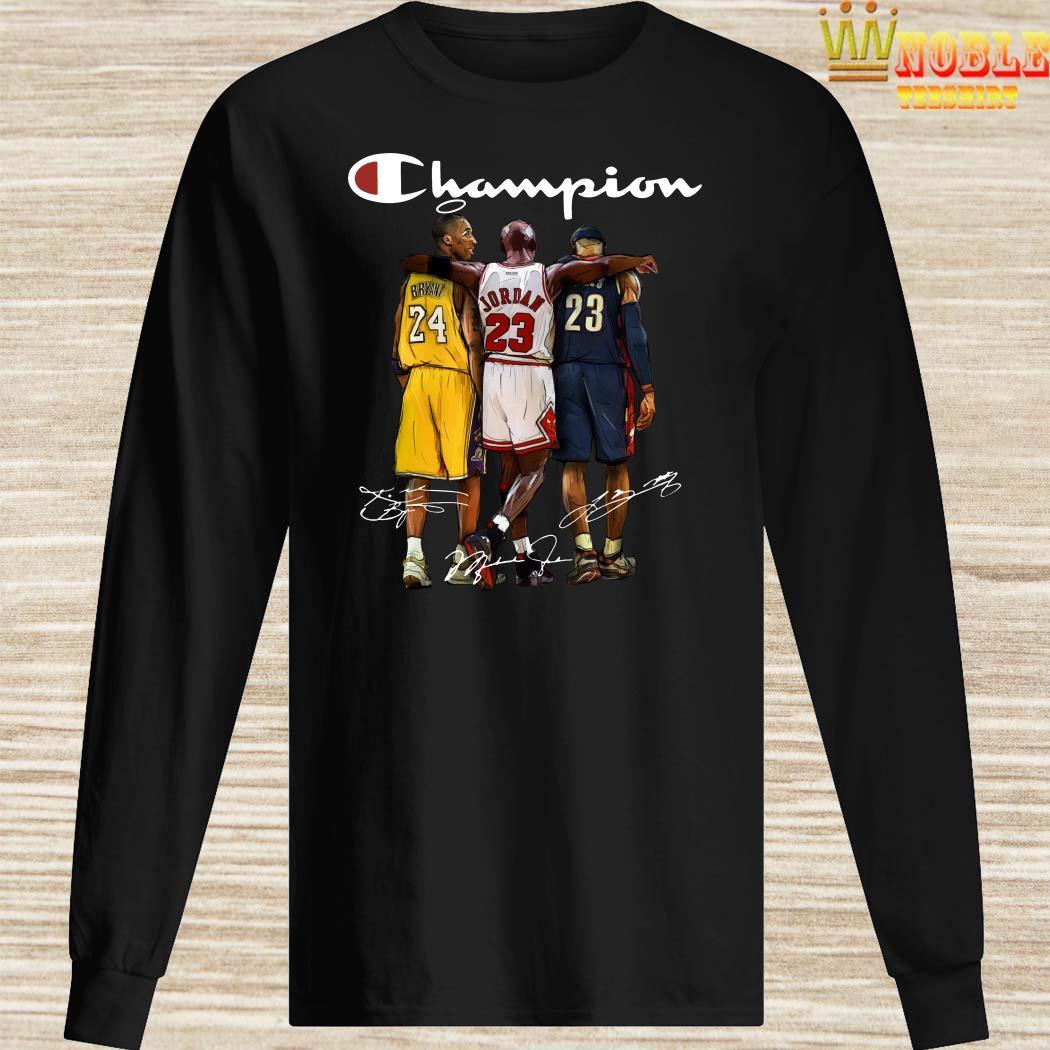 Rip Kobe Bryant Jordan And Lebron Champion Signatures Long Sleeved
