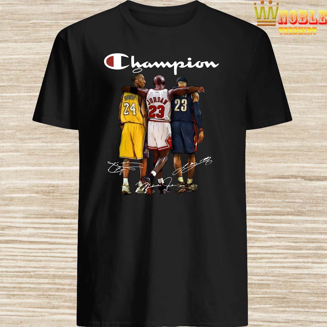 Rip Kobe Bryant Jordan And Lebron Champion Signatures Shirt