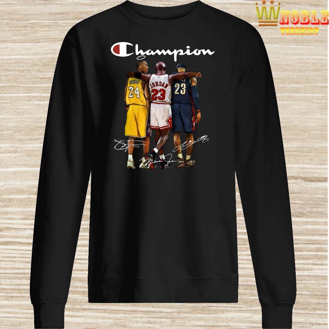 Rip Kobe Bryant Jordan And Lebron Champion Signatures Sweater