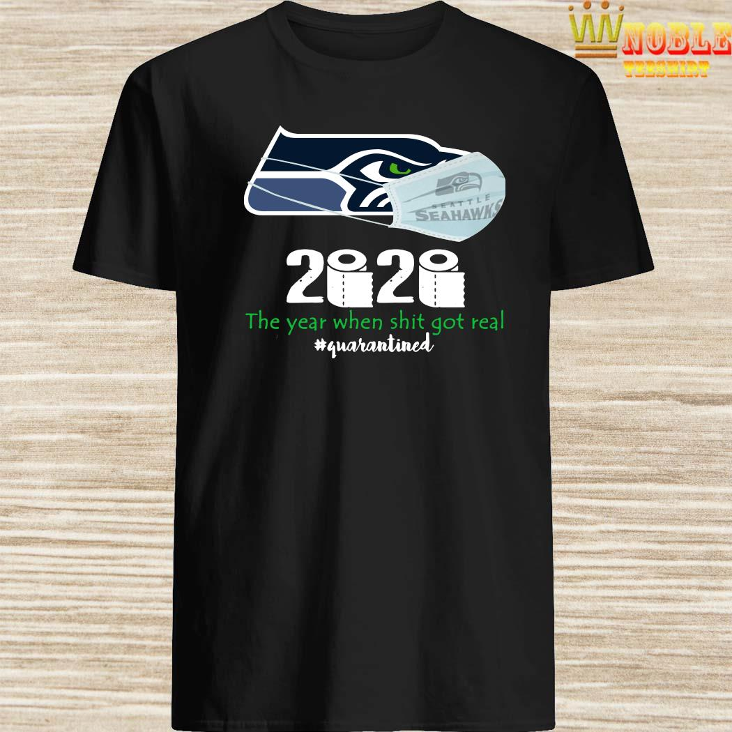 Seattle Seahawks Face Face Mask 2020 The Year When Shit Got Real Quarantined Shirt
