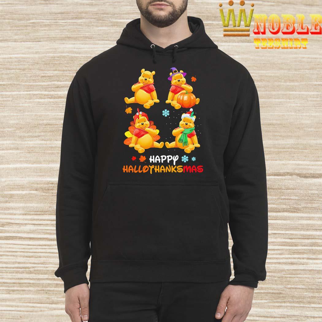 Pooh Bear Happy Hallothanksmas Shirt Hoodie