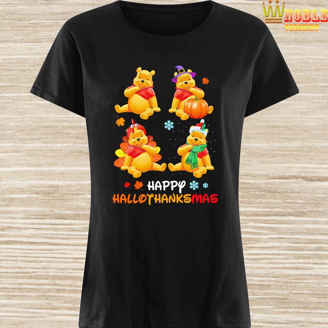 Pooh Bear Happy Hallothanksmas Shirt Ladies Shirt