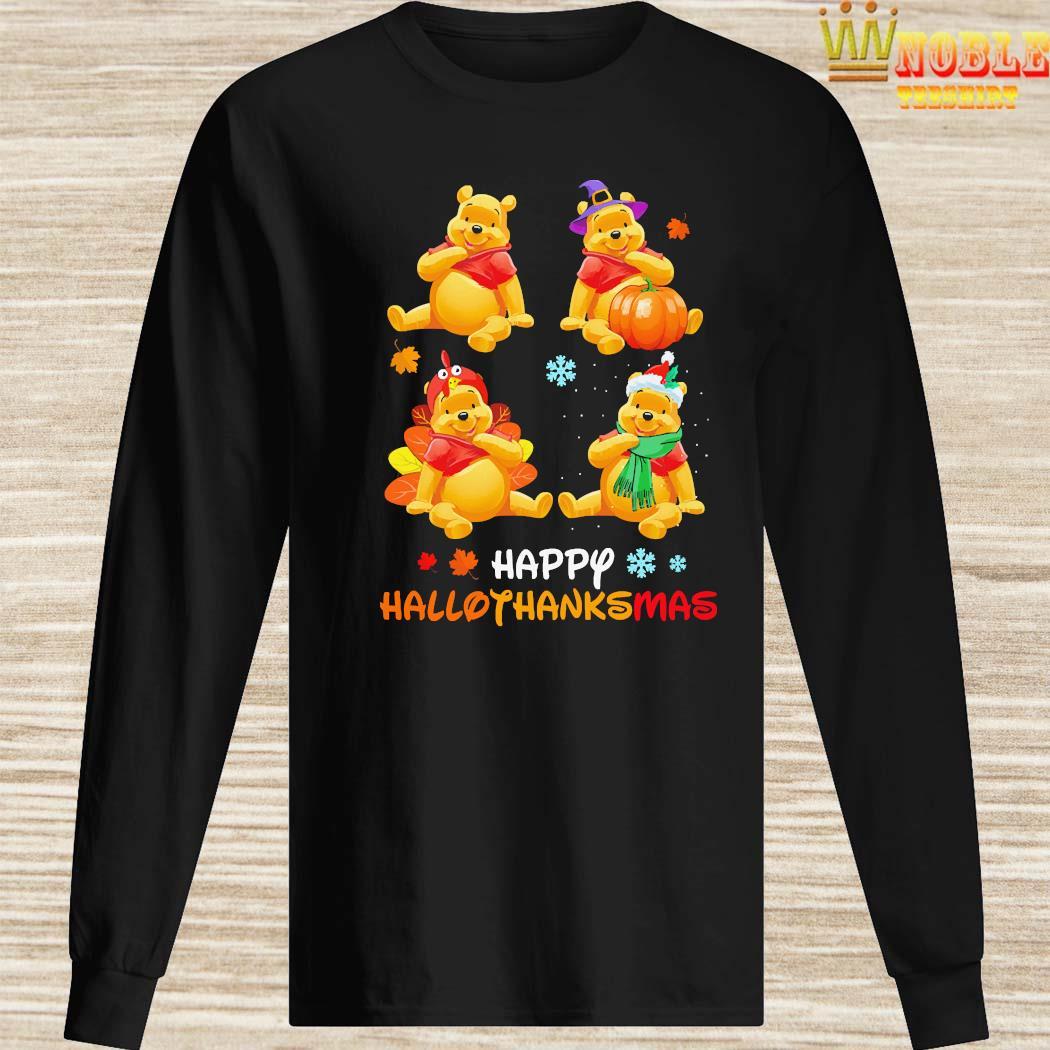 Pooh Bear Happy Hallothanksmas Shirt Long Sleeved