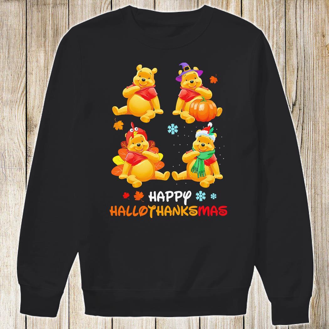 Pooh Bear Happy Hallothanksmas Shirt Sweatshirt