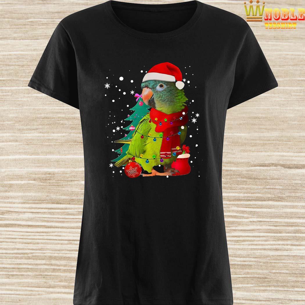 Santa Parrot With Light Merry Christmas Shirt Ladies Shirt